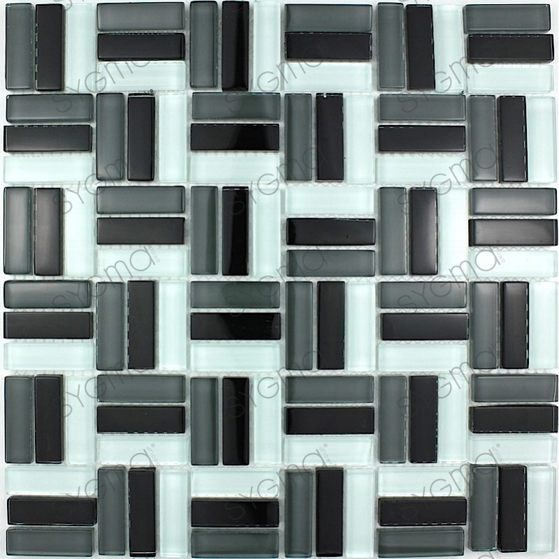 Crystal mosaic wall city noir carrelage for Carrelage noir