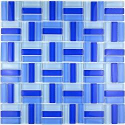 plaque mosaïque verre salle de bain douche city bleu