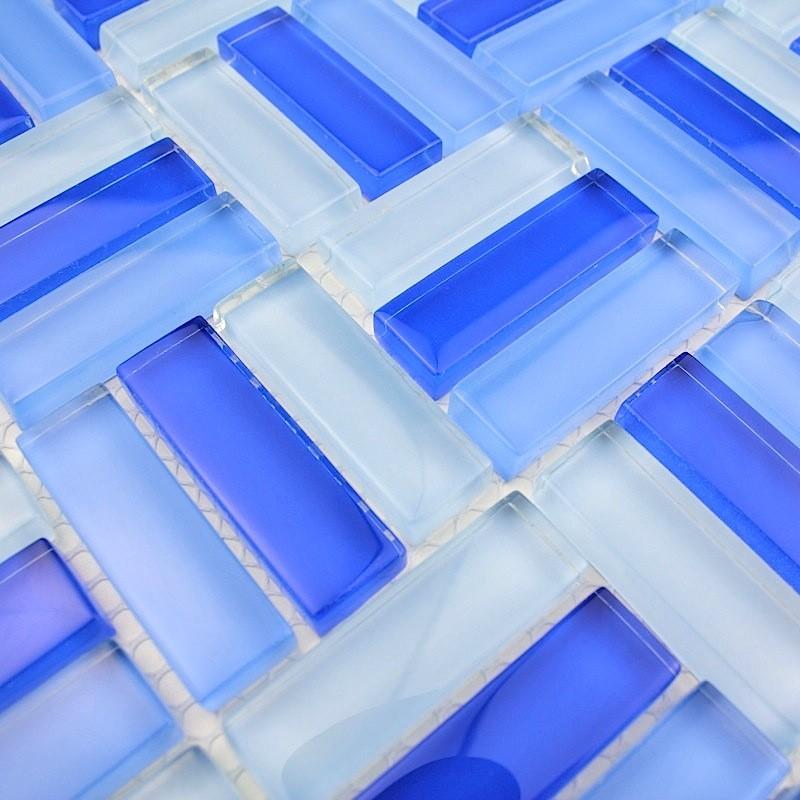 Mosaique verre salle de bain carrelage douche city bleu for Mosaique bleu salle de bain