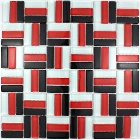 Plaque mosaique verre murale city rouge carrelage - Plaque murale salle de bain ...