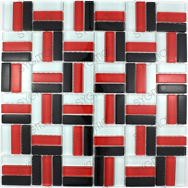 plaque mosaique verre murale city rouge carrelage. Black Bedroom Furniture Sets. Home Design Ideas