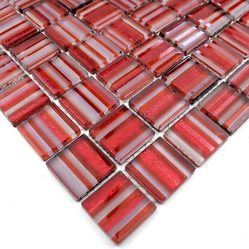 mosaique verre cr dence cuisine verre mosa que douche candy rouge. Black Bedroom Furniture Sets. Home Design Ideas