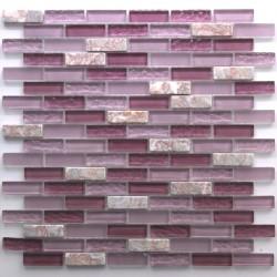 azulejos de la cocina de la cocina de mosaico de vidrio y piedra Rossi Brique
