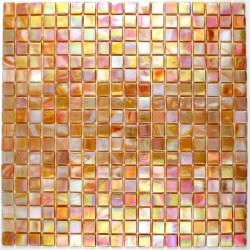 carrelage douche mosaïque douche pâte de verre rainbow corail