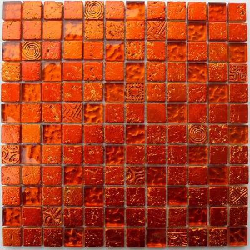 carrelage mur salle de bain et douche metallic-orange - carrelage ...