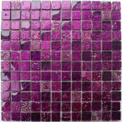 carrelage salle de bain carrelage douche mosaïque verre et pierre metallic violet