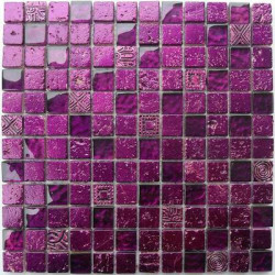 Wall mosaic stone and glass Alliage Violet