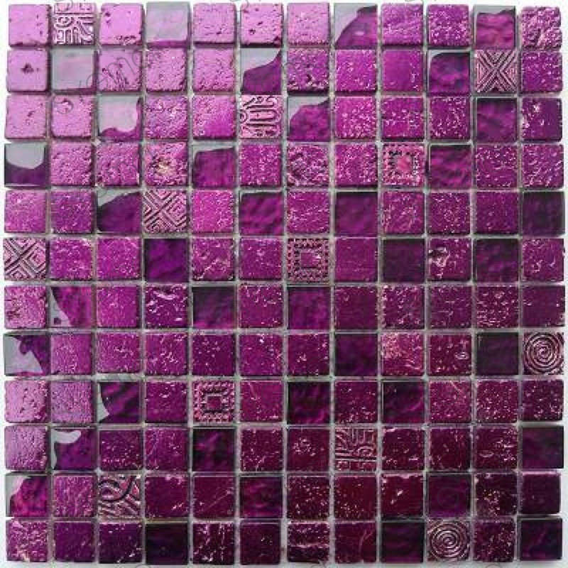 mosaique pierre et verre murale metallic violet. Black Bedroom Furniture Sets. Home Design Ideas