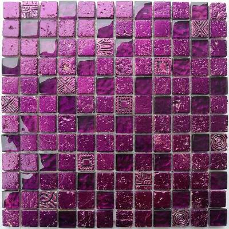 Mosaique Pierre Et Verre Murale Metallic Violet Carrelage Inox Fr