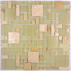 carrelage douche mosaïque douche verre et pierre lutece sable