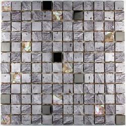 carrelage douche mosaïque douche verre et pierre calvi silver