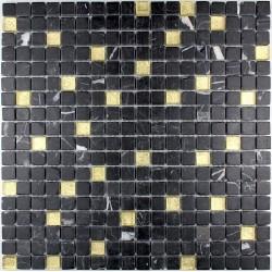 carrelage douche mosaïque douche verre et pierre nero gold
