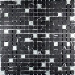 carrelage douche mosaïque douche verre et pierre nero silver