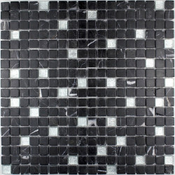 tile shower mosaic shower glass and stone Mandala Silver