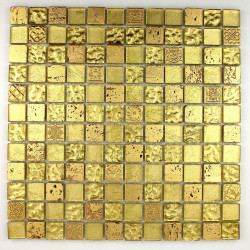 Mosaic tile stone and glass wall Alliage Or