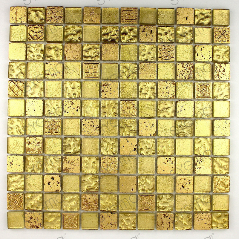 Mosaic tile stone and glass wall metallic gold carrelage for Mosaica carrelage