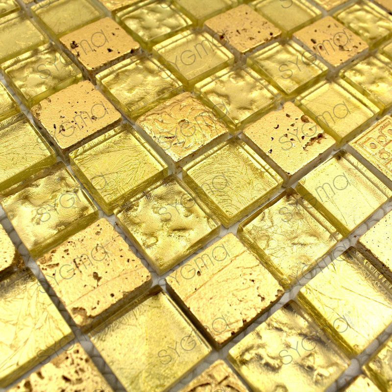 Mosaic tile stone and glass wall metallic gold carrelage for Carrelage stone