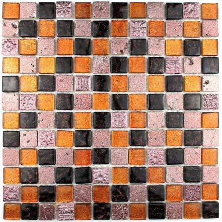 Carrelage mosaique salledebain verre et pierre metallic for Mosaique de verre autocollante