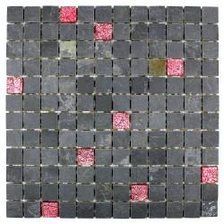 carrelage douche mosaïque douche verre et pierre allure rouge