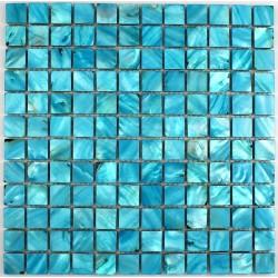 crédence cuisine carrelage douche sol mosaïque douche nacre 23 bleu