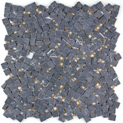 Stone mosaic floor and wall shower and bathroom mp-lulli-noir