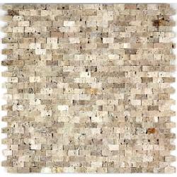 mosaique pierre sol et mur douche et salle de bain cinza beige