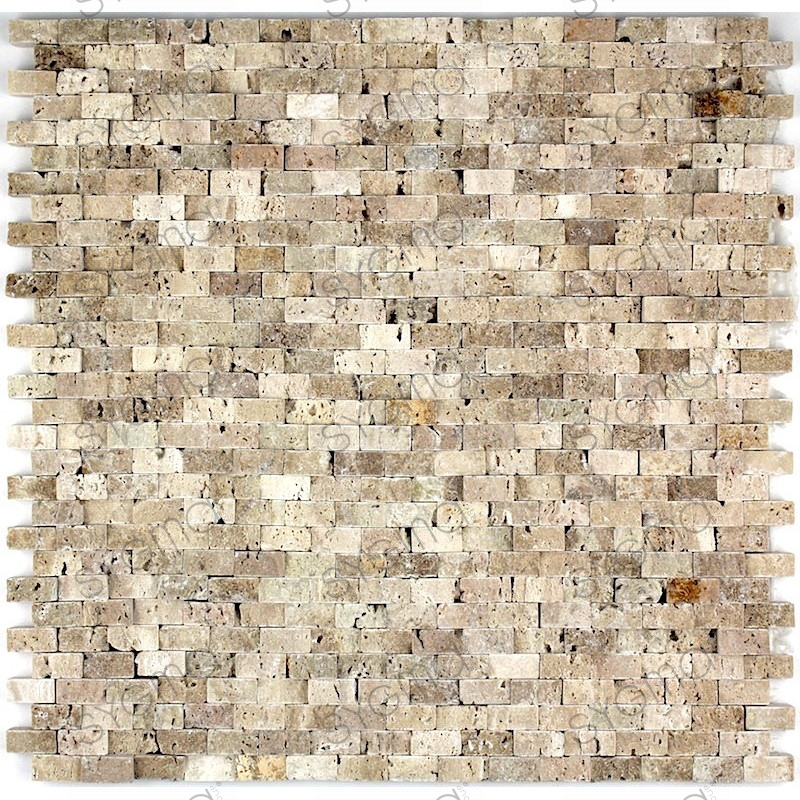 Mosaic stone wall shower and bathroom cinza beige for Carrelage stone