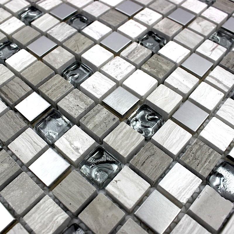 Douche italienne mosaique pierre sol et mur salle de bain - Salle de bain mur en verre ...