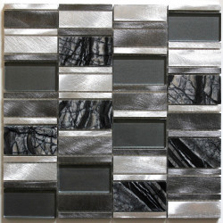 tile mosaic aluminum glass tiles kitchen backsplash Albi Gris