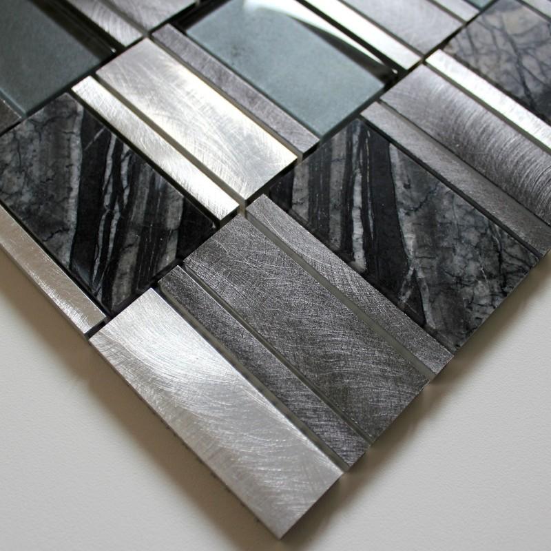 Dalle mosaique aluminium et verre carrelage cuisine cr dence ceti gris carr - Dalle credence autocollante ...