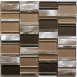 tile mosaic aluminum glass tiles kitchen backsplash Albi Marron