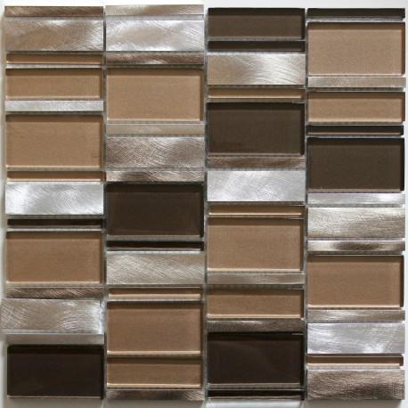 dalle mosaique aluminium et verre carrelage cuisine crédence ceti marron