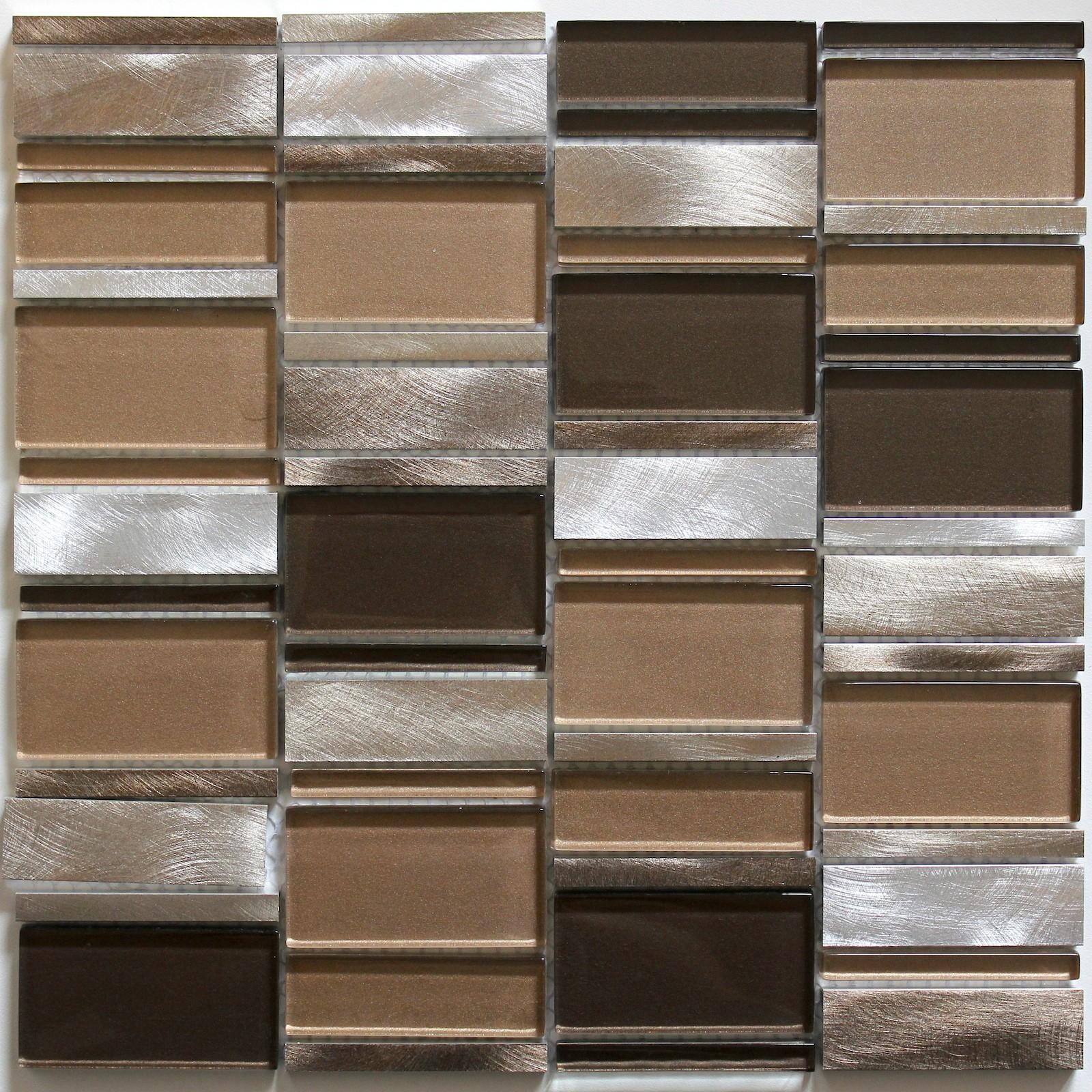 tile mosaic aluminum glass tiles kitchen splashback ceti brown