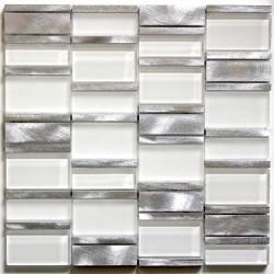 dalle mosaique aluminium et verre carrelage cuisine crédence Albi Blanc