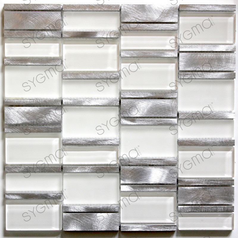 Tile mosaic aluminum glass tiles kitchen splashback ceti white carrelage in - Castorama plaque inox ...