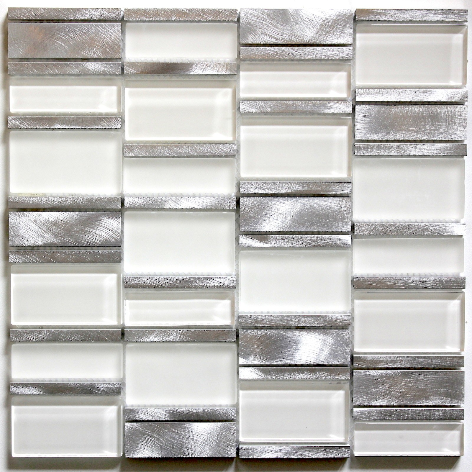 Carrelage Metro Blanc Joint Gris tile mosaic aluminum glass tiles kitchen splashback albi blanc