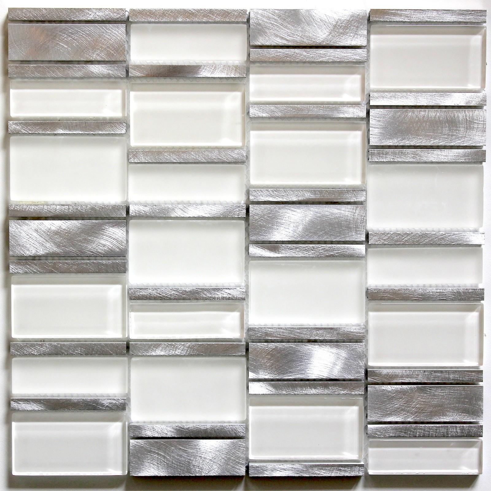 tile mosaic aluminum glass tiles kitchen splashback ceti white