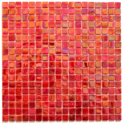 Glass mosaic backsplash tile bathroom Imperial Rouge