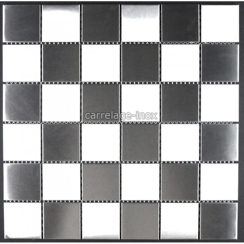 Mosaic shower tile stainless steel splashback kitchen for Carrelage damier noir et blanc 30x30