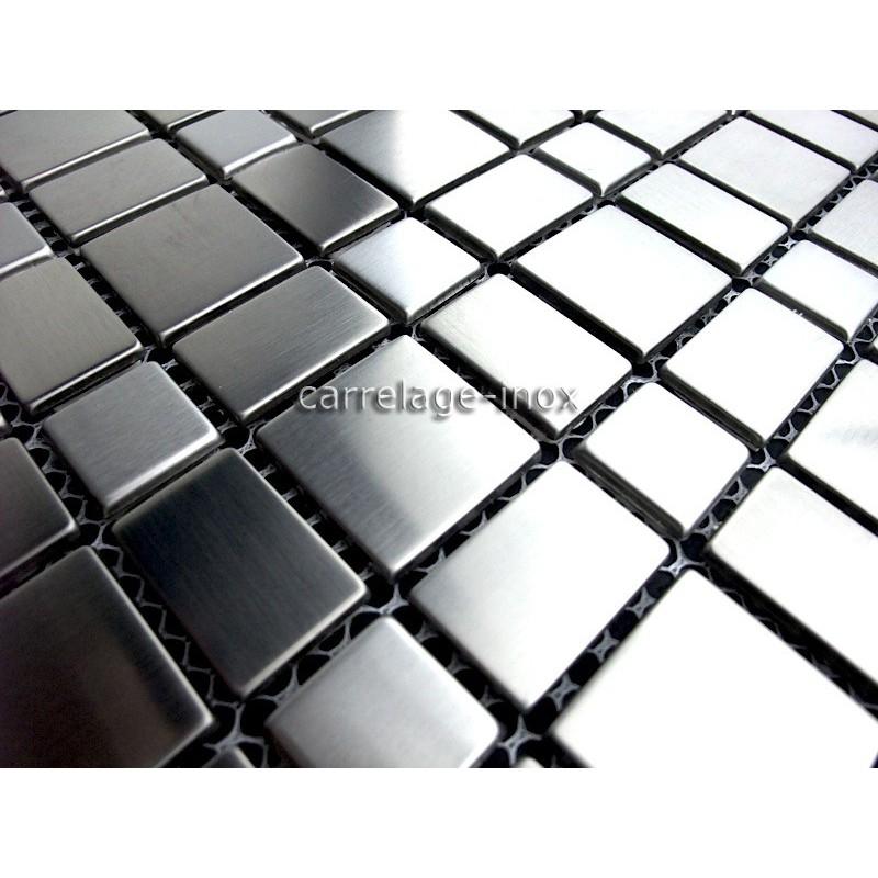 Mosa que inox 1m2 carrelage inox fond de hotte compo - Mosaique inox ...