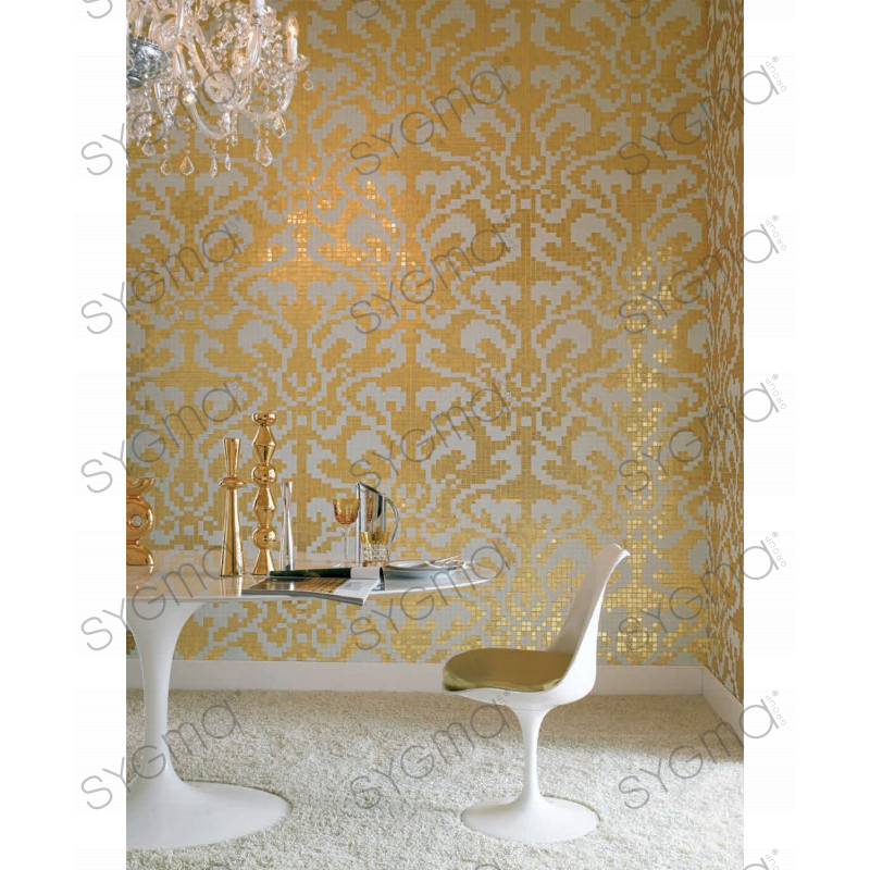 Glass mosaic art baroque gold carrelage for Carrelage inox credence