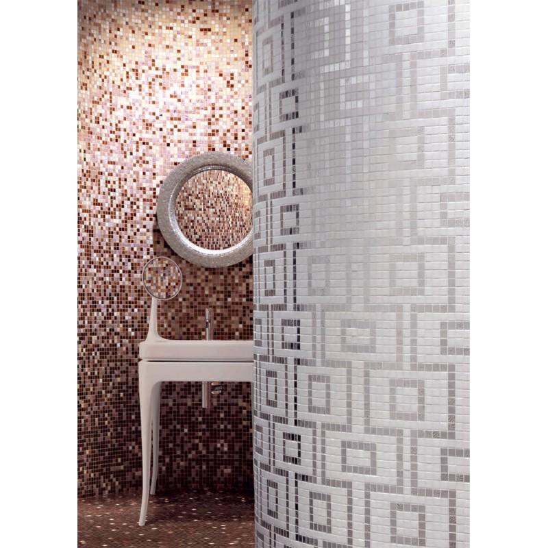 Mosa que douche p te de verre salle de bain art hermes carrelage - Mosaique sol salle de bain ...
