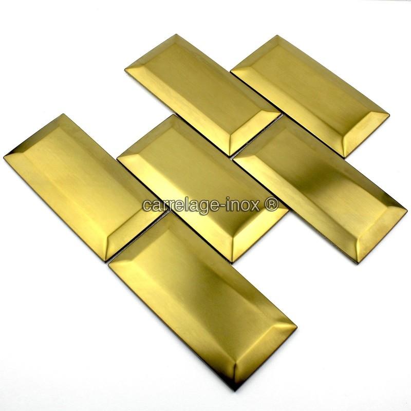 Tile metro stainless steel model metro gold carrelage for Carrelage metro