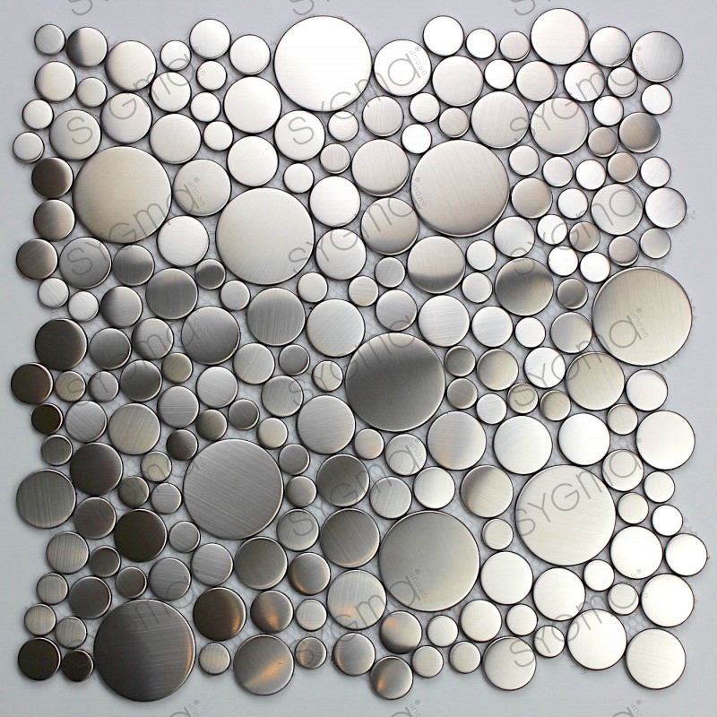 Mosaic stainless steel splashback kitchen stainless steel for Carrelage inox fr