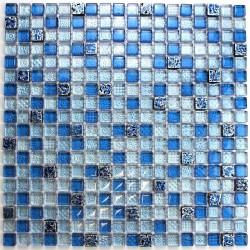 Mosaique bleu en verre et pierre mp-eaton
