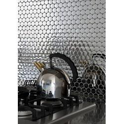 muestra mosaico de acero muro cocina metro cuivre
