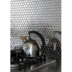 sample of stainless steel mosaic for splashback kitchen metro cuivre