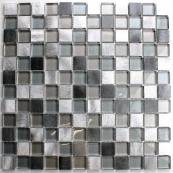 Mosaic aluminium and glass kitchen backsplash HEHO