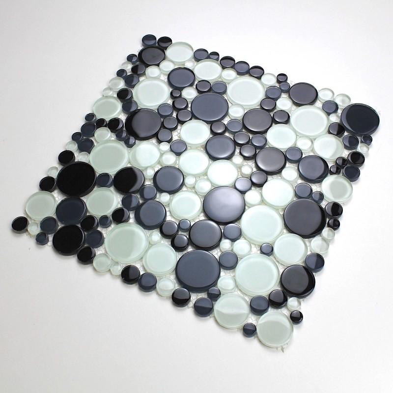Mosaique galets en verre sol ou mur modele mv-ronda - carrelage-inox.fr