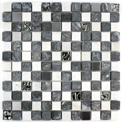 Stone mosaic quartz tile bicolor mp-ethno